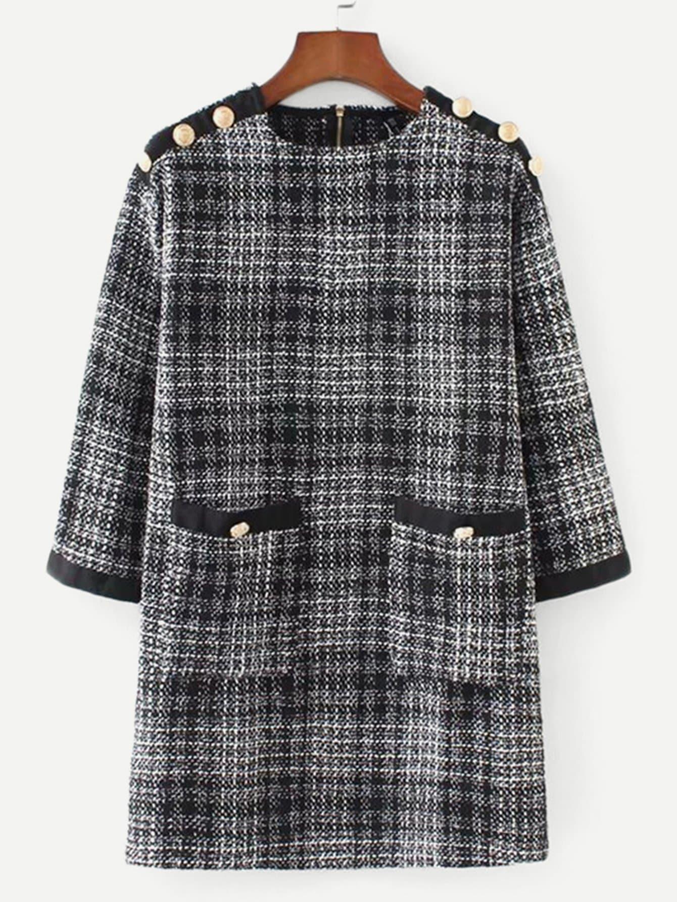 Купить Платье в клетку из твида с карманами и пуговицами, null, SheIn