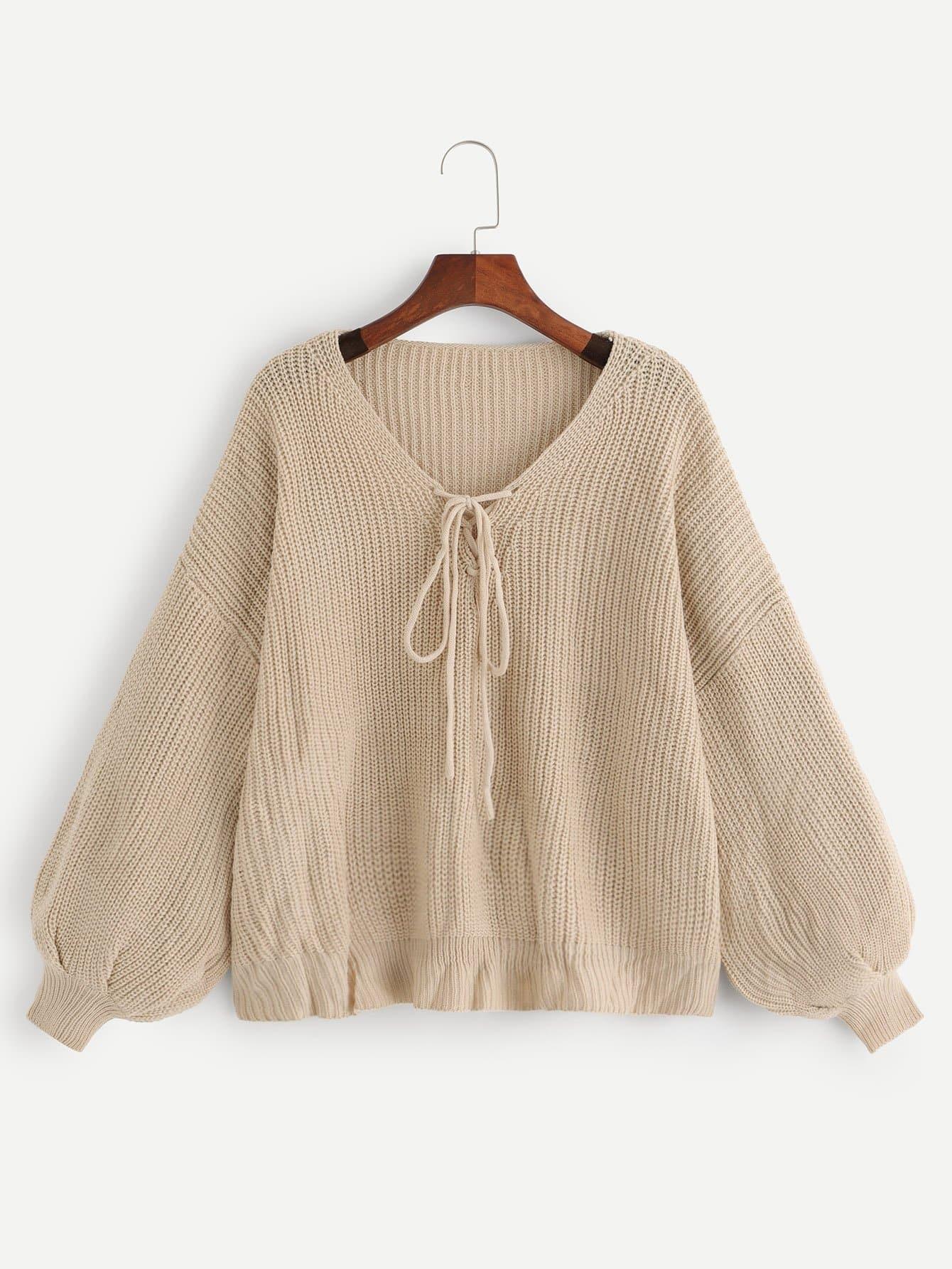 Купить Простой свитер с шнурками и рукавами, присборенный у манжета, null, SheIn