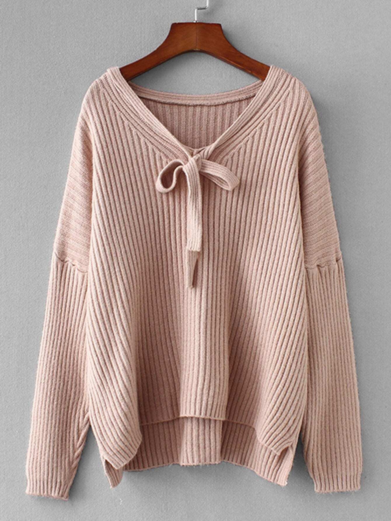 Фото - Простой свитер с воротник-бантом от SheIn розового цвета
