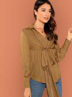 Tie Front Detail Long Sleeve Blouse