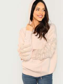 Faux Fur Trim Pullover Hooded Knit Sweater