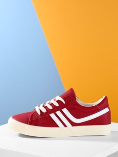 Lace Up Front Side Stripe Two Tone Sneakers
