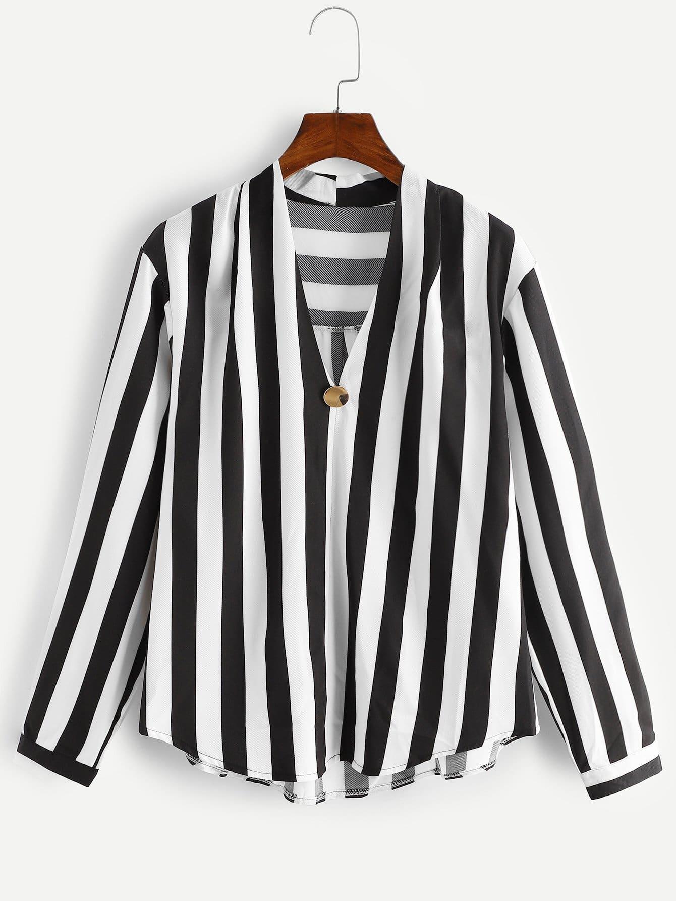 Купить Размера плюс полосатая блуза с V-образным вырезом, null, SheIn