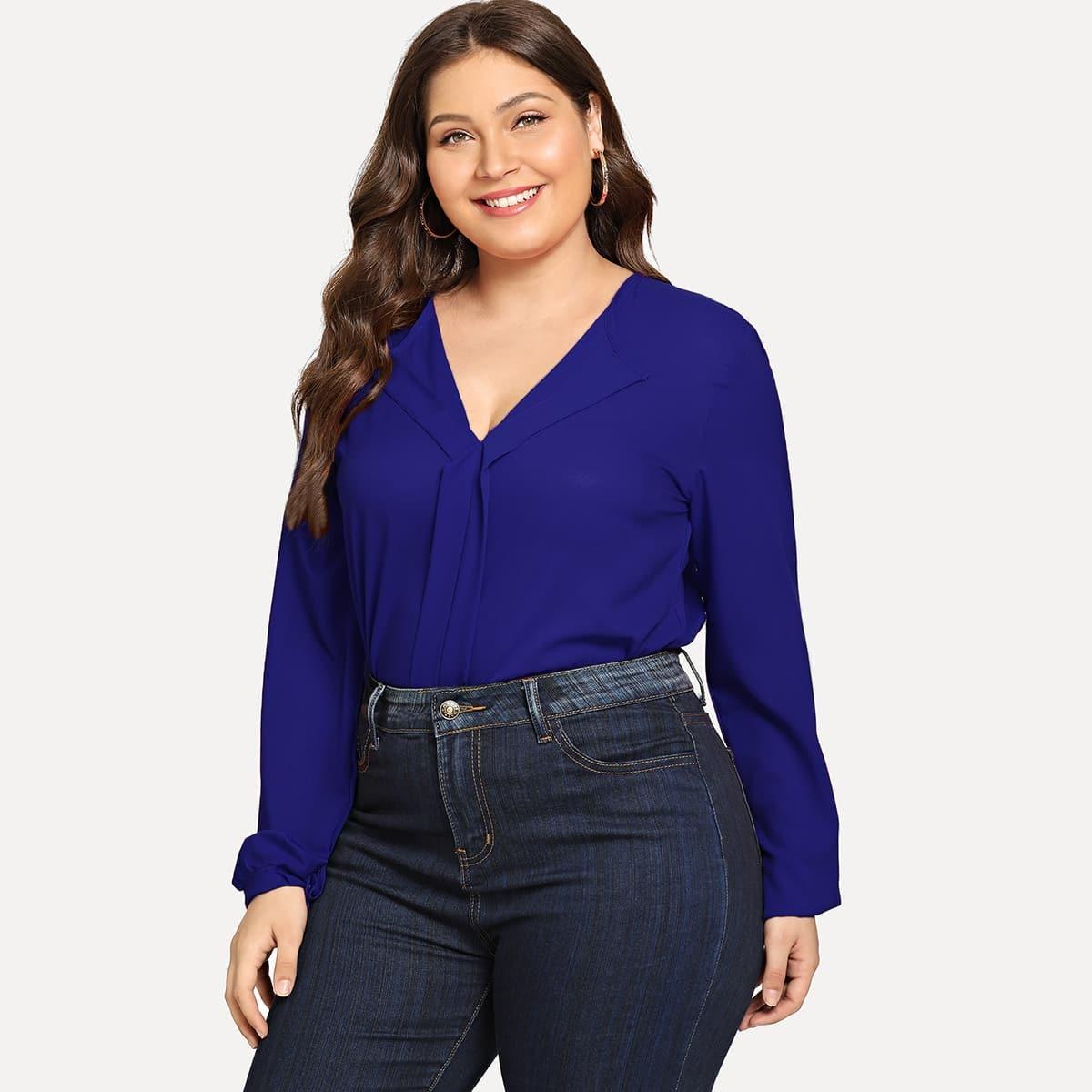 Blauw Casual Vlak Grote maten blouses