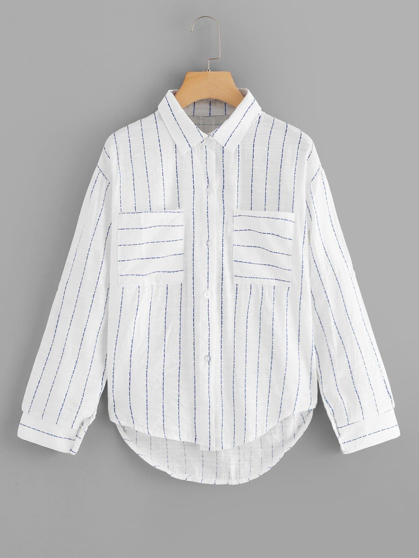 Фото - Полосатая блуза с карманами от SheIn белого цвета