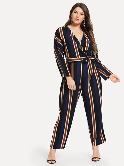 Plus Surplice Front Self Tie Striped Jumpsuit
