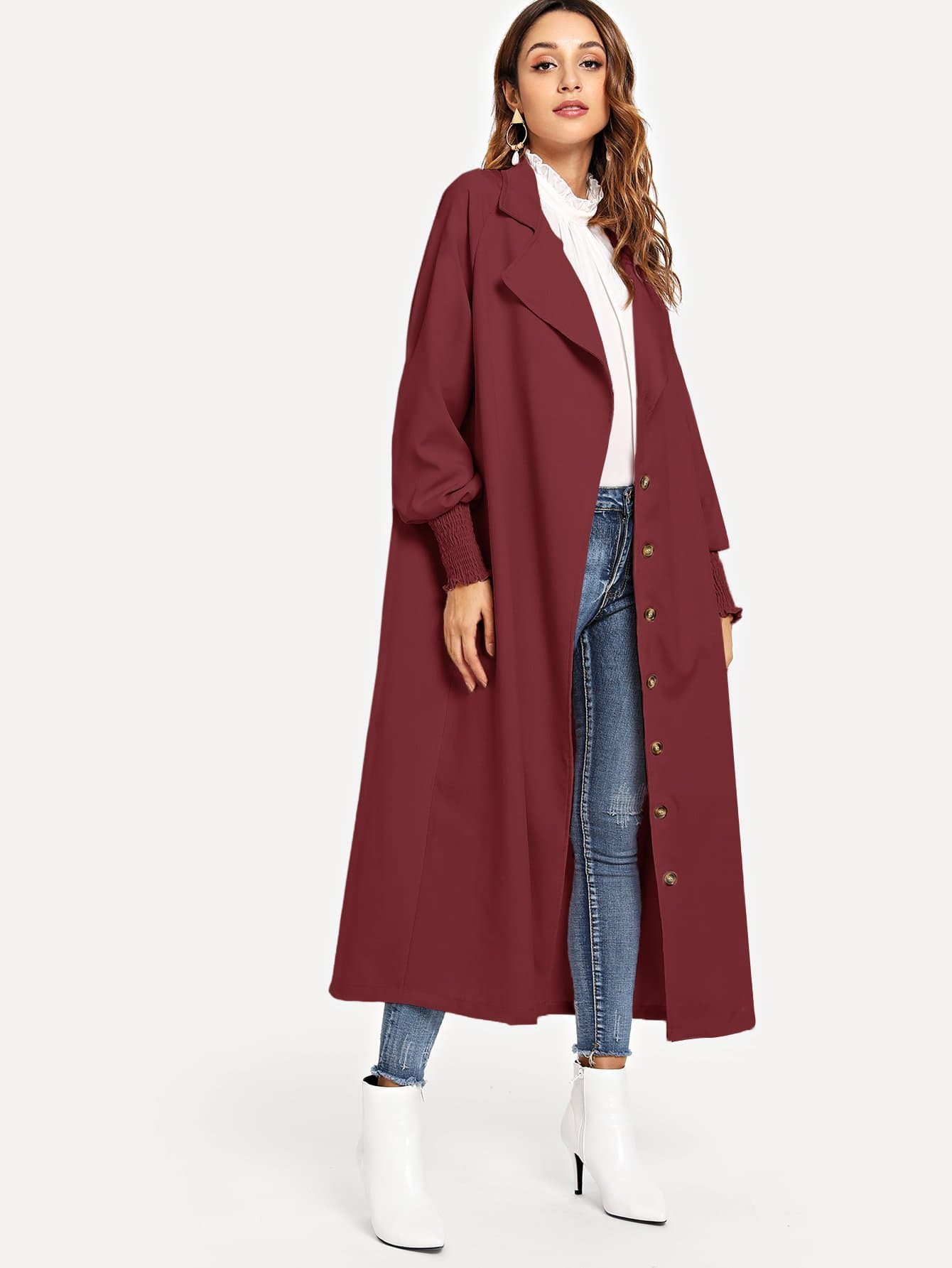 9849fd88e70 Single Breasted Solid Trench Coat
