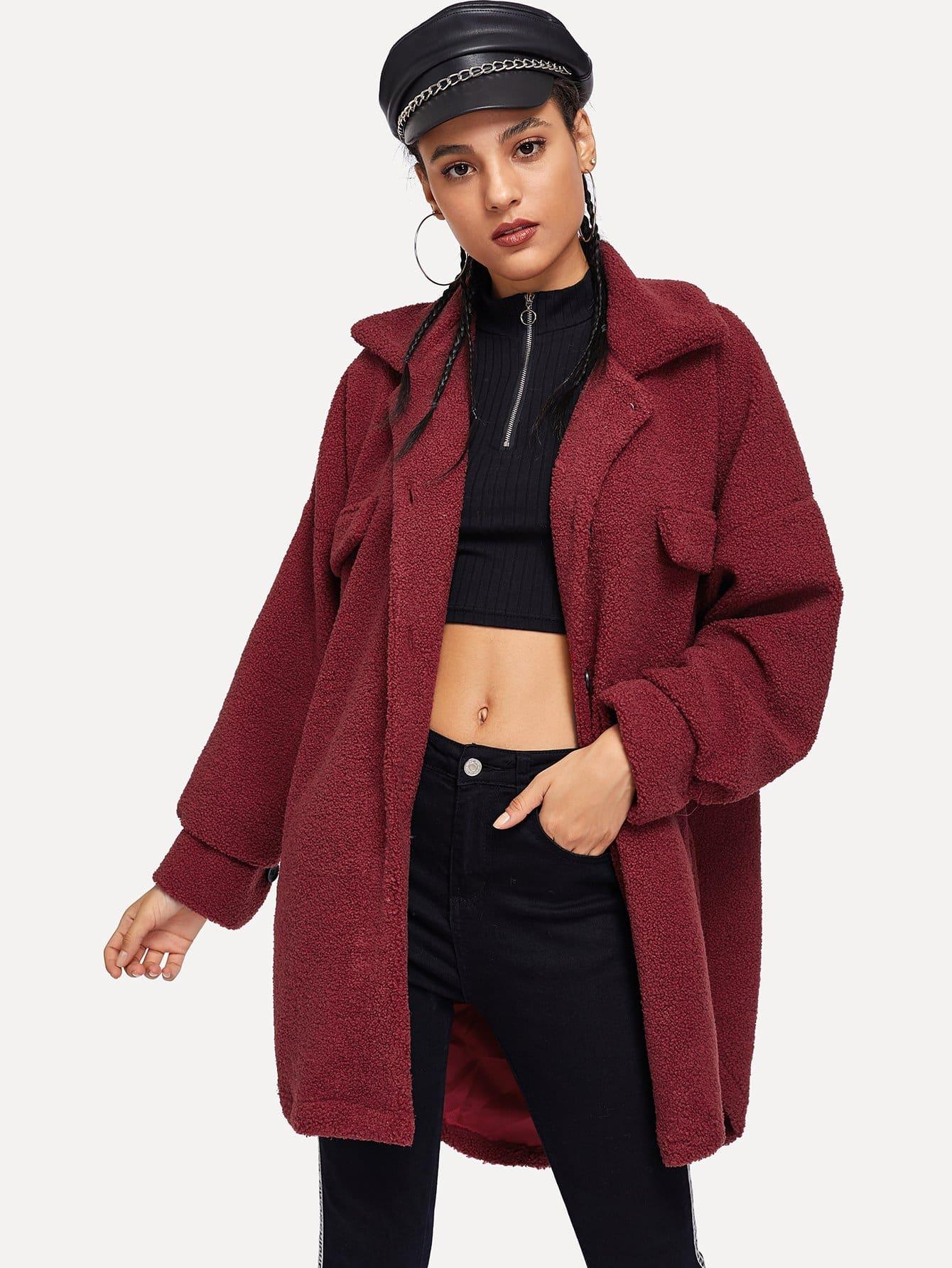 Фото - Однобортная куртка тедди с карманами от SheIn бордового цвета