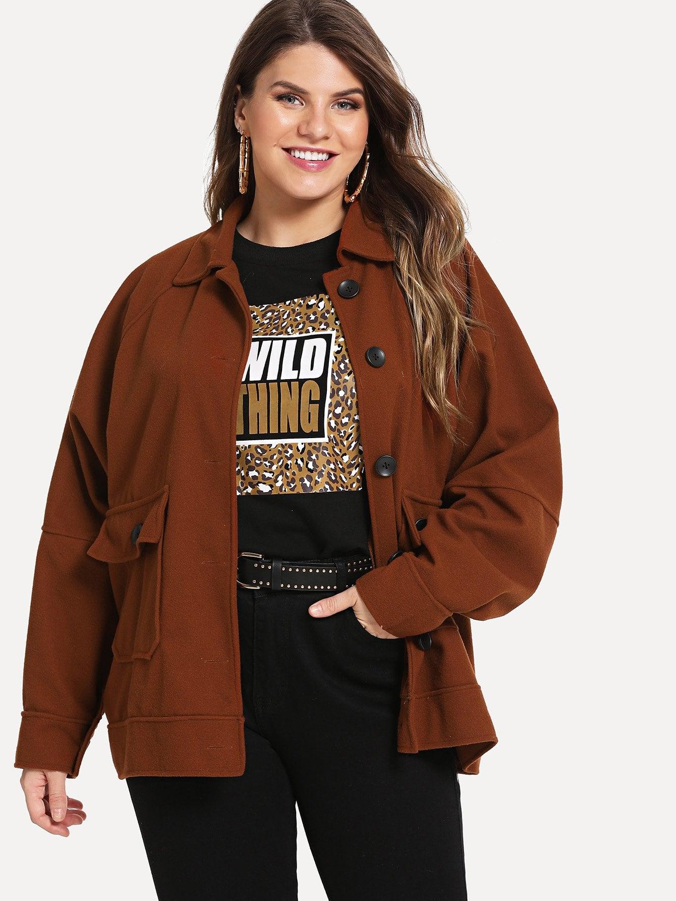 Фото - Размера плюс однобортное простое пальто от SheIn цвет коричневые