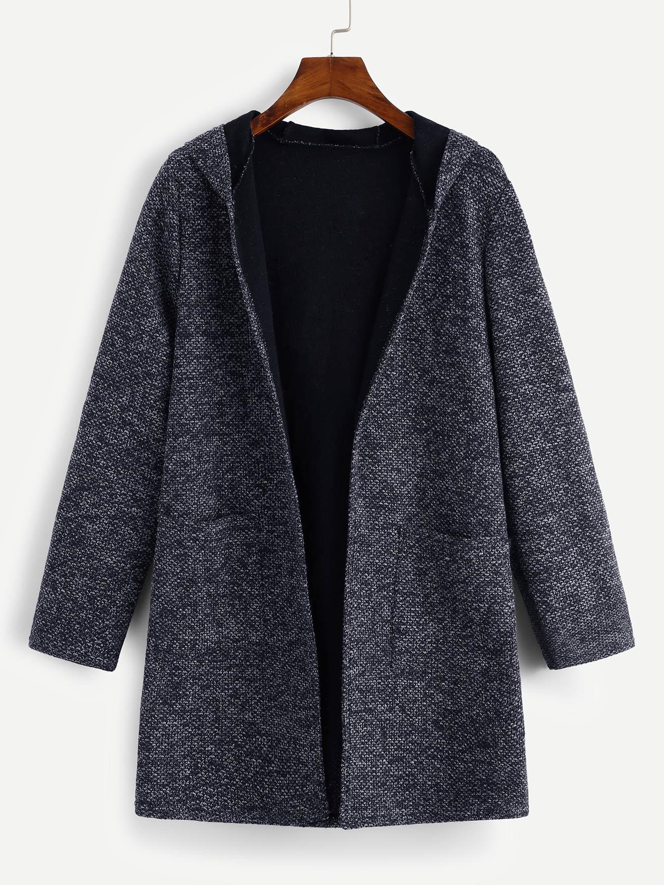 Фото - Пальто с капюшоном и карманами из твида от SheIn черного цвета