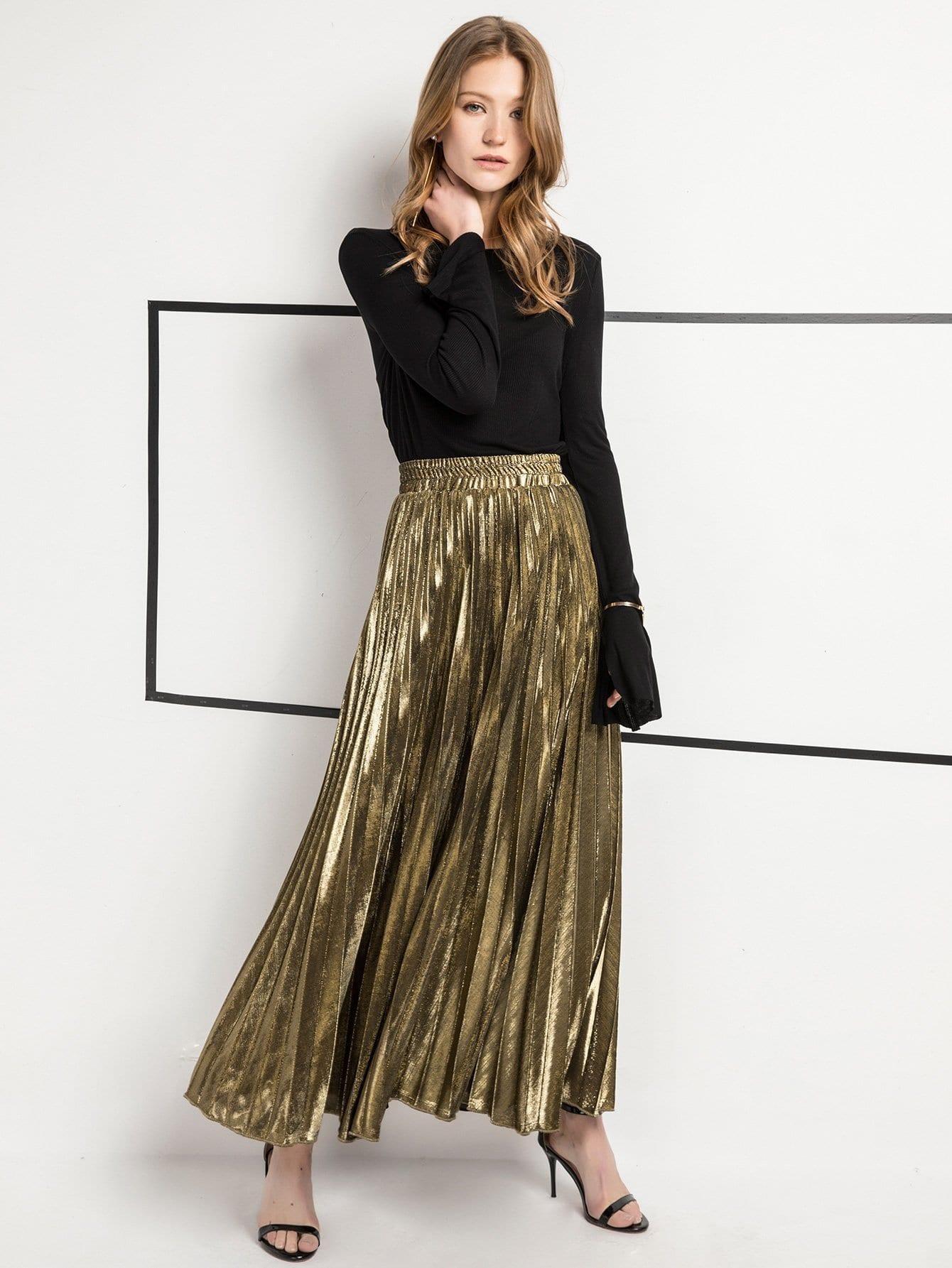 Фото - Плиссированная юбка с басоном эластичным от SheIn золотого цвета