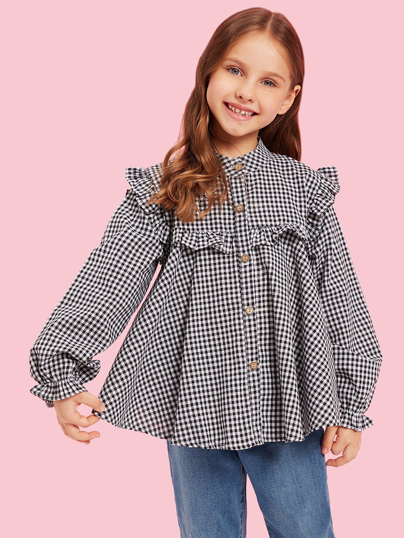 Купить Блуза в клетку с кружевными оборками для маленьких девочек, Anna C, SheIn
