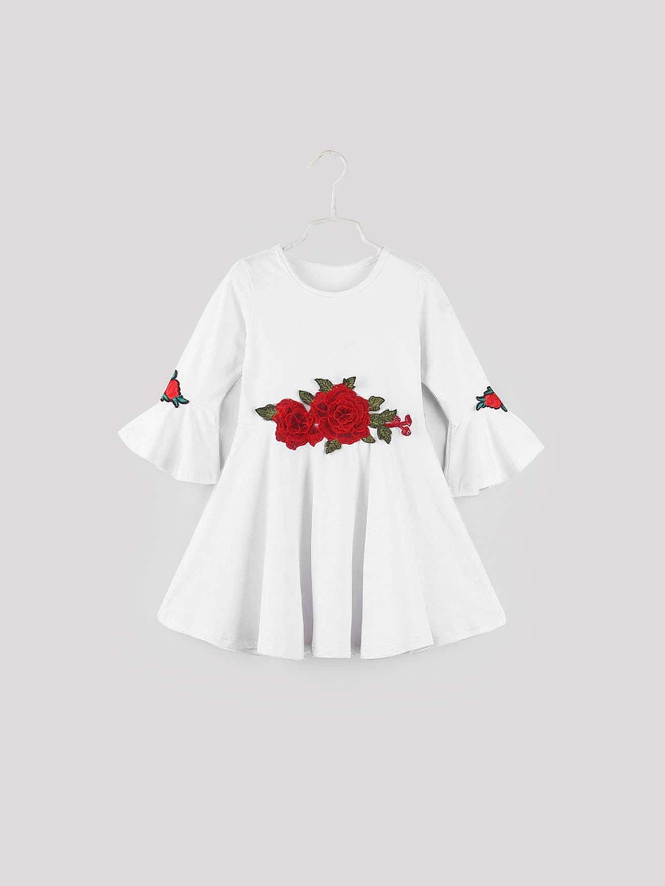 Фото - Платье с вышивкой и вставкой для маленьких девочек от SheIn цвет белые