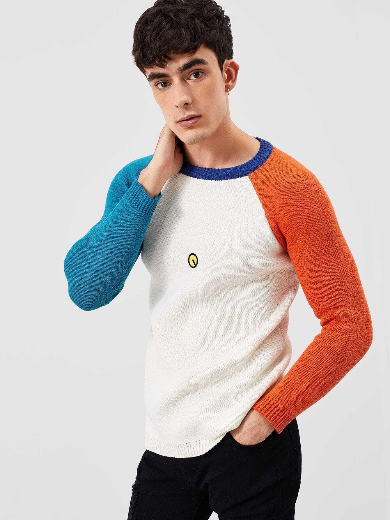 Купить Мужский свитер с вышивкой и контрастными рукав-регланами, Antonio, SheIn