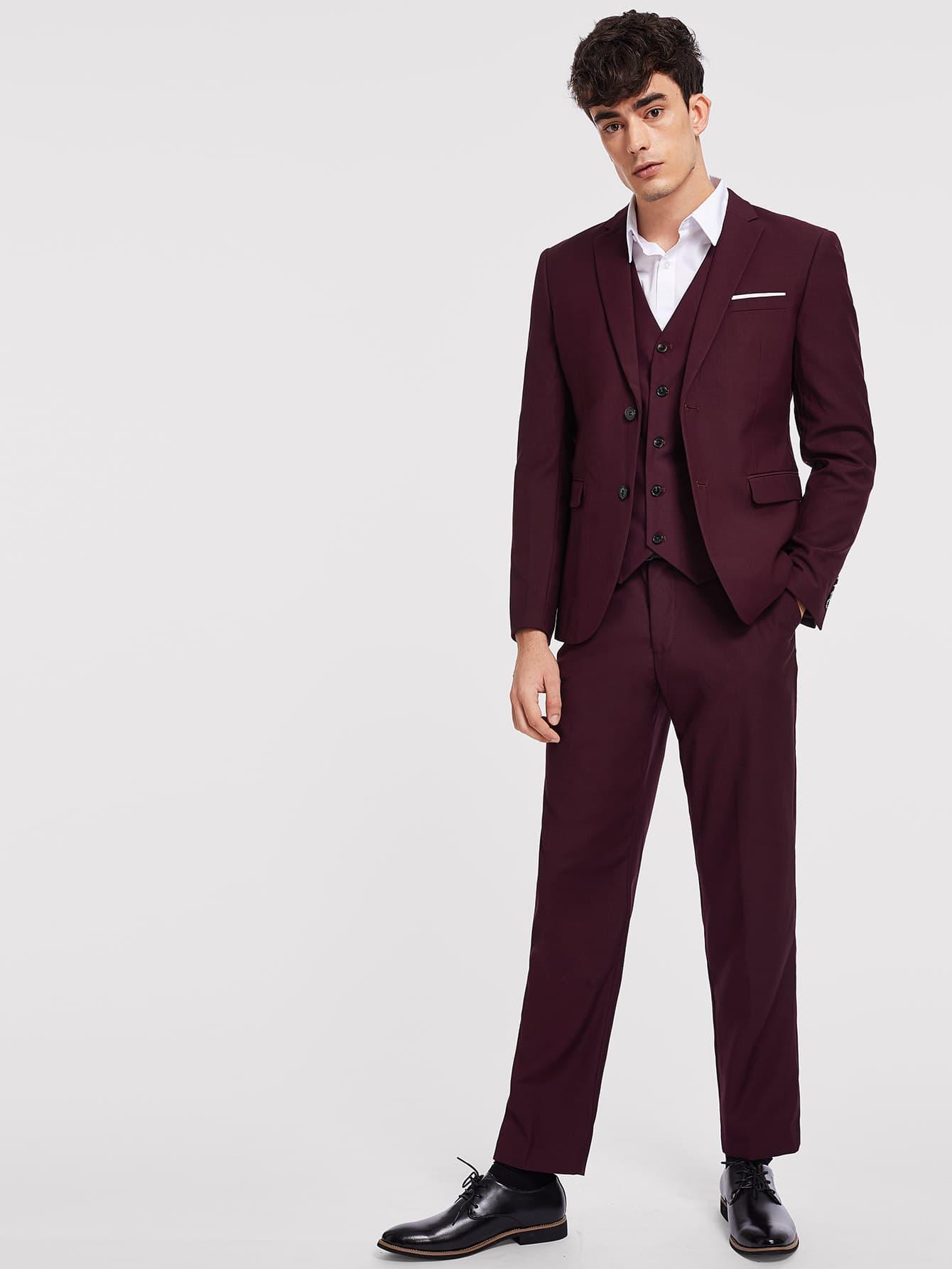 Купить Мужские простой жакет и брюки и жилет, Antonio, SheIn