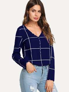Button Front V-Neck Grid Top