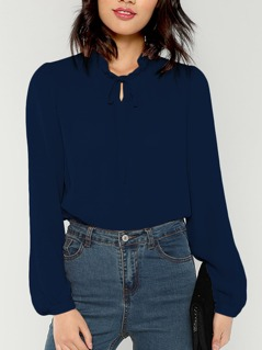 Tied Frill Neck Bishop Sleeve Top