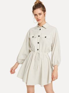 Button Half Placket Drawstring Waist Utility Dress