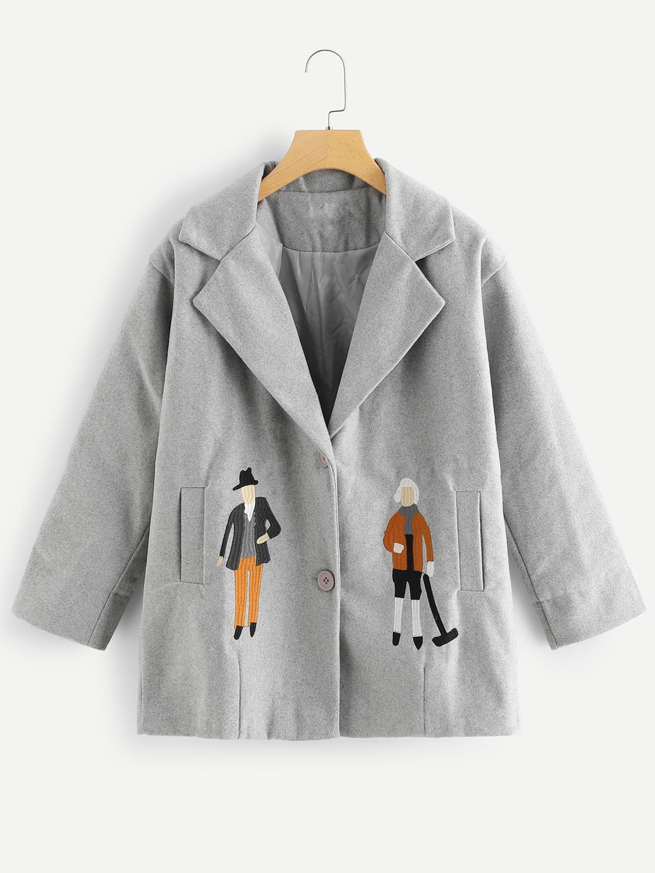 Фото - Куртку с принтом вышитой фигуры от SheIn серого цвета