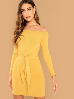 Lettuce Trim Knot Front Bardot Dress