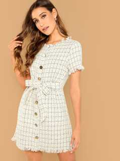 Frayed Edge Button Front Knot Tweed Dress