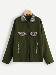 Leopard Collar Button Up Jacket