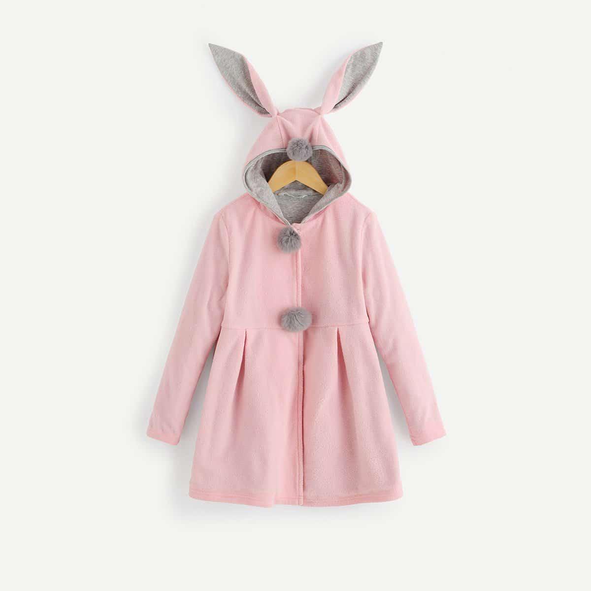 Плюшевое пальто с капюшоном и помпоном в форме ушей кролика 3D для девочек от SHEIN