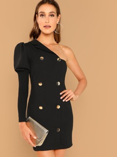 Double Breasted One Shoulder Blazer Dress