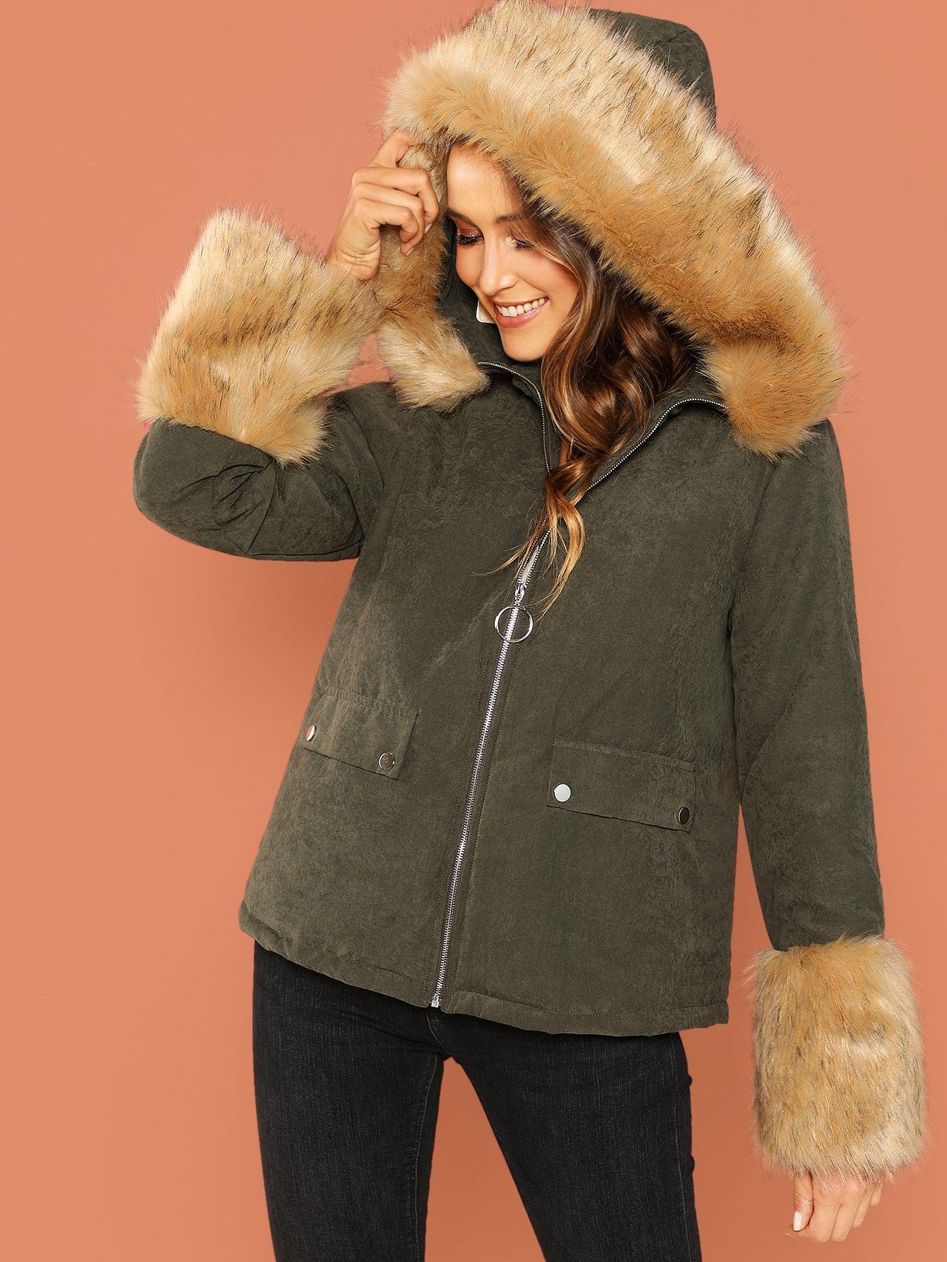 Купить Пальто на молнии с карманом, Anna Herrin, SheIn