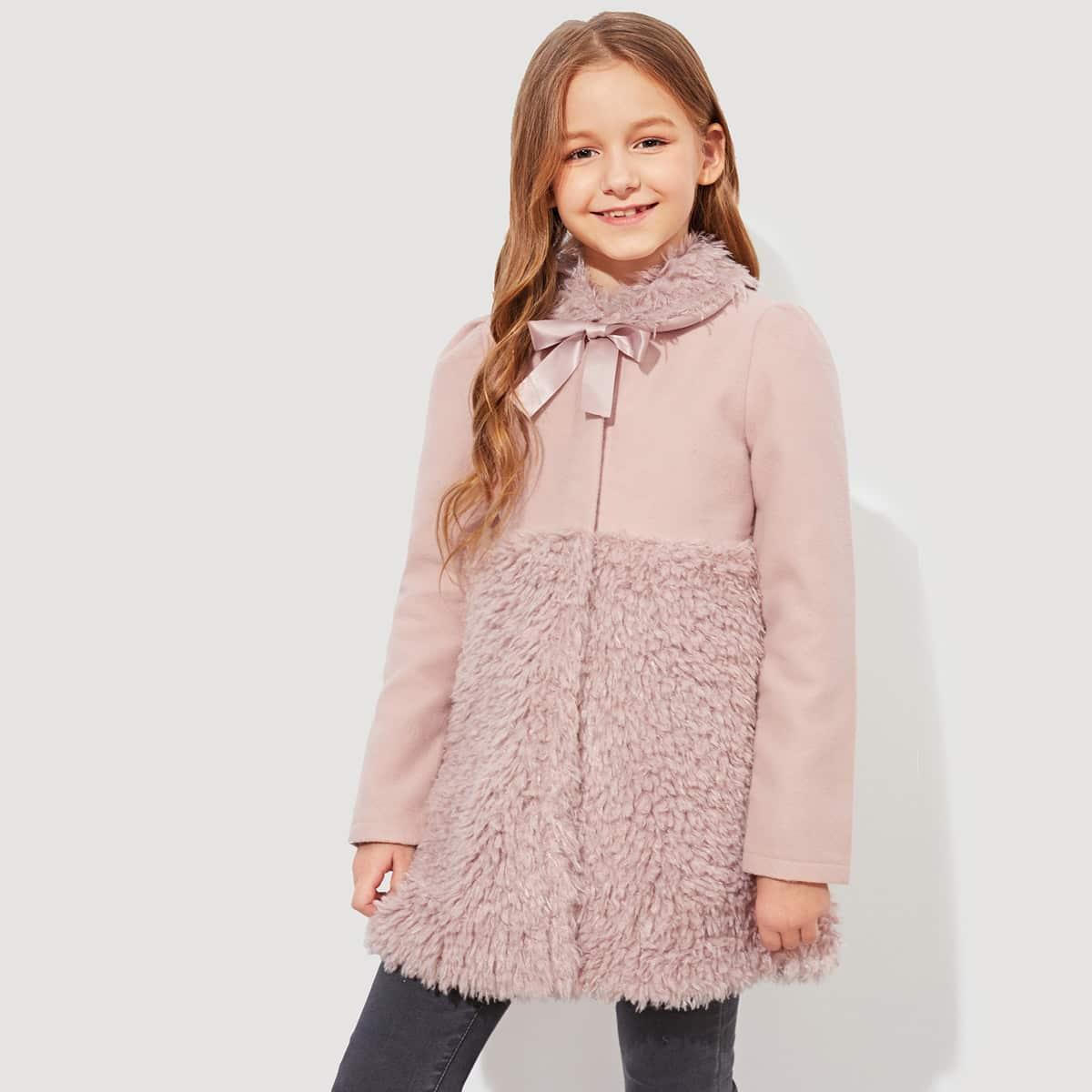 Для девочек контрастное тедди пальто на пуговицах от SHEIN