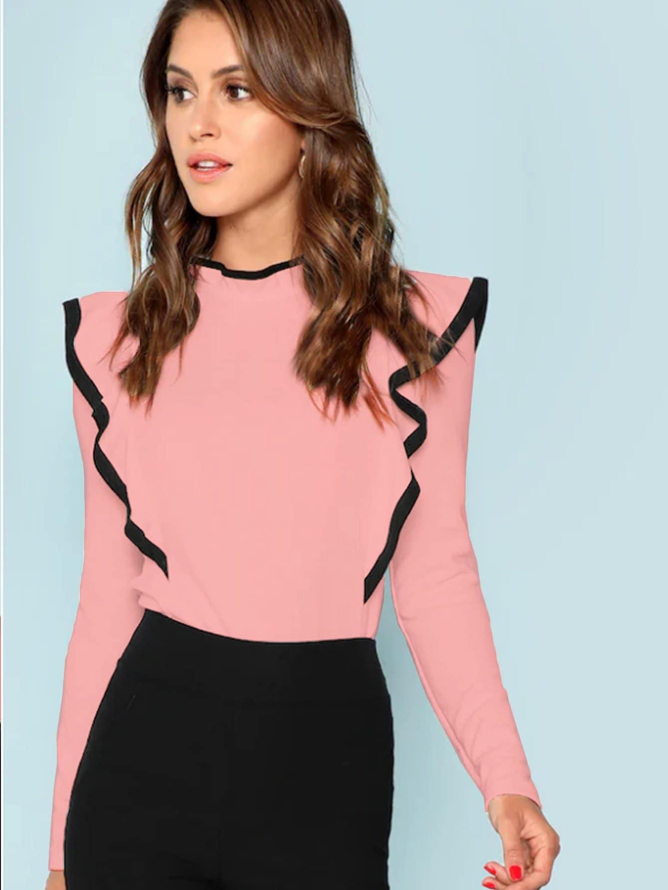 Купить Контрастная облегающая футболка с оборками, Gigi Paris, SheIn