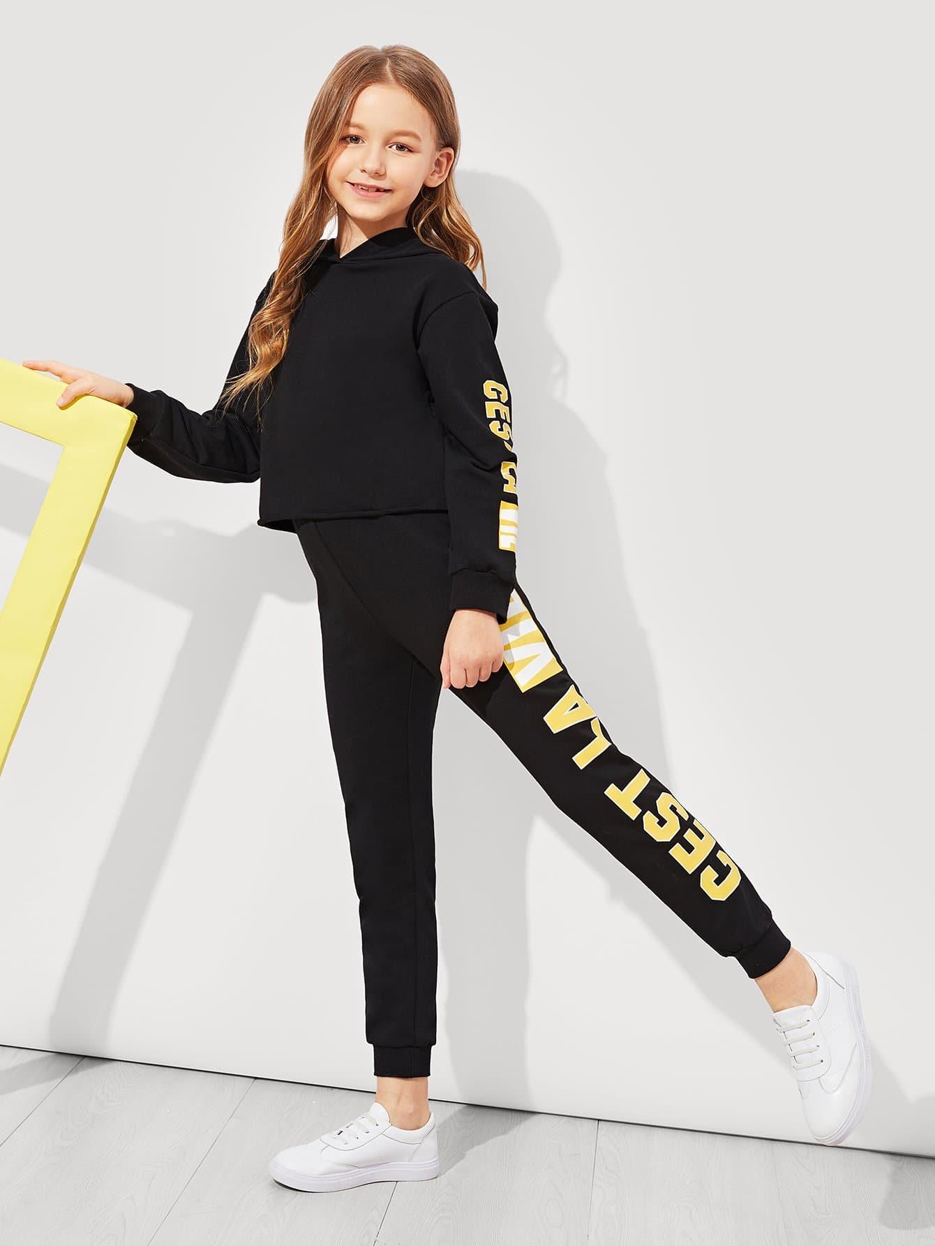Купить Для девочек толстовка и спортивные брюки комплект, Sashab, SheIn