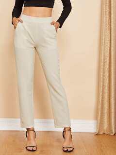 Slant Pocket Wide Waist Pants