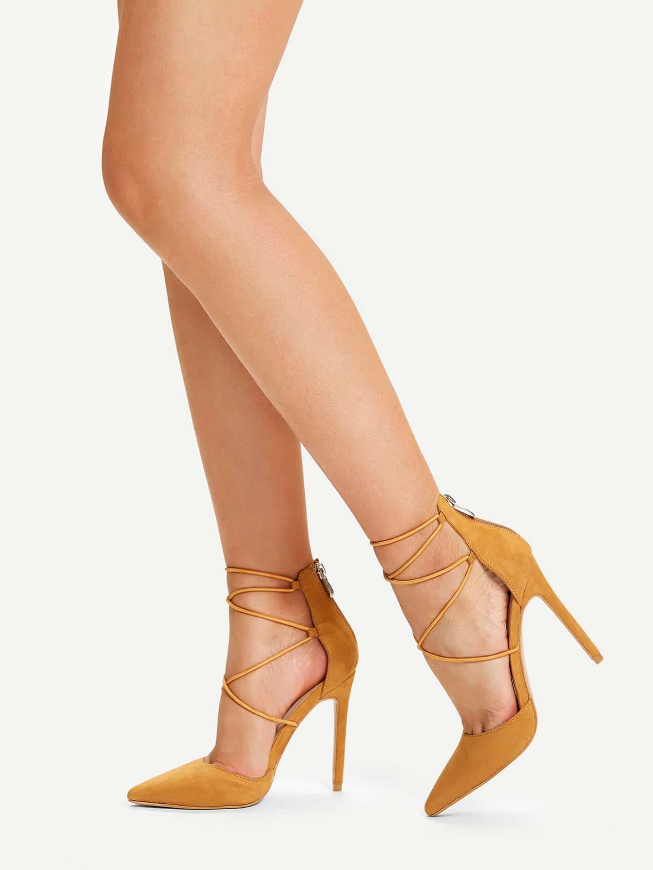 Остроконечные туфли на высоких каблуках с лентами крест-на-крест