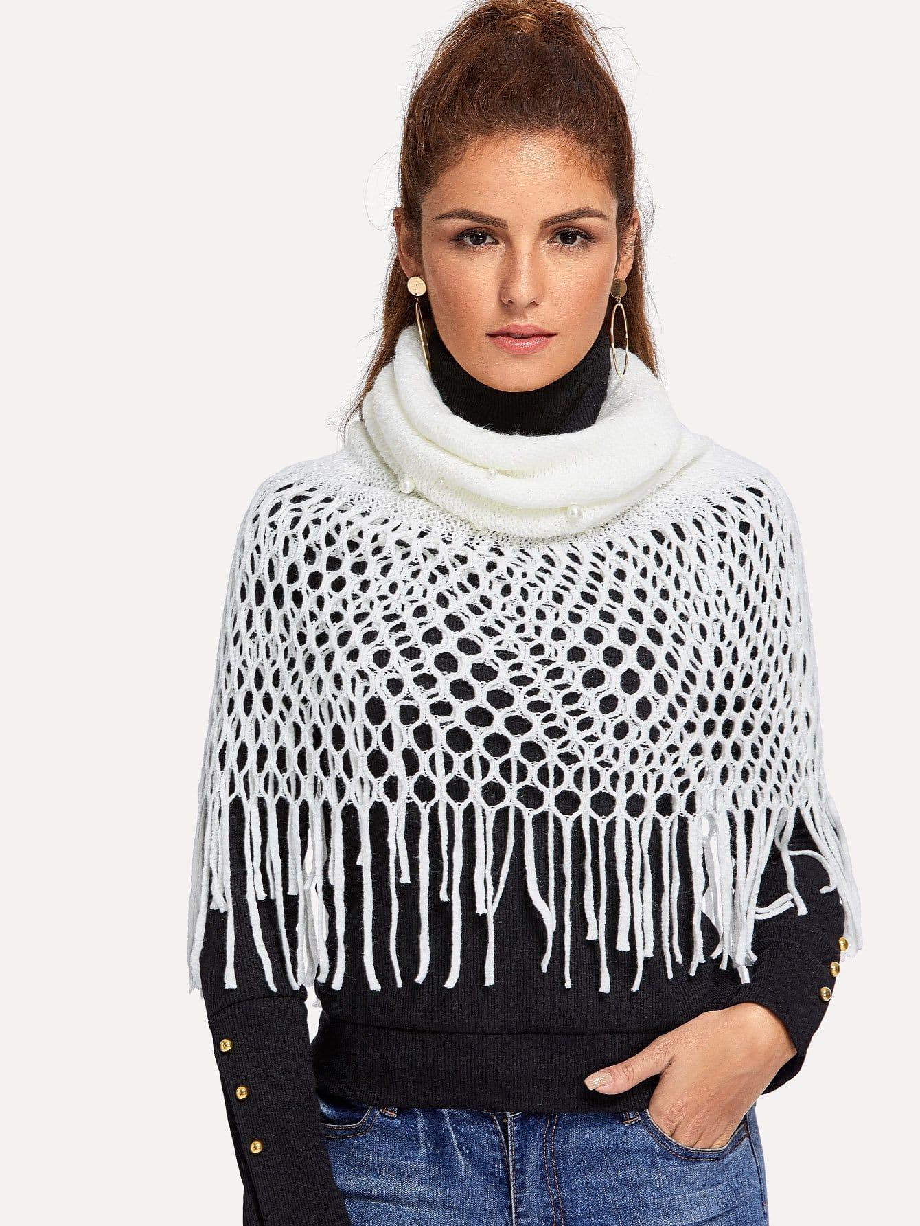 Купить Бесконечный шарф с украшением искусственных жемчугов, null, SheIn
