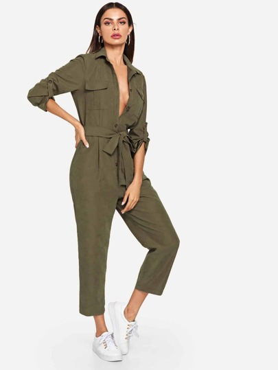 Roll Tab Sleeve Button Front Self Belted Utility Jumpsuit
