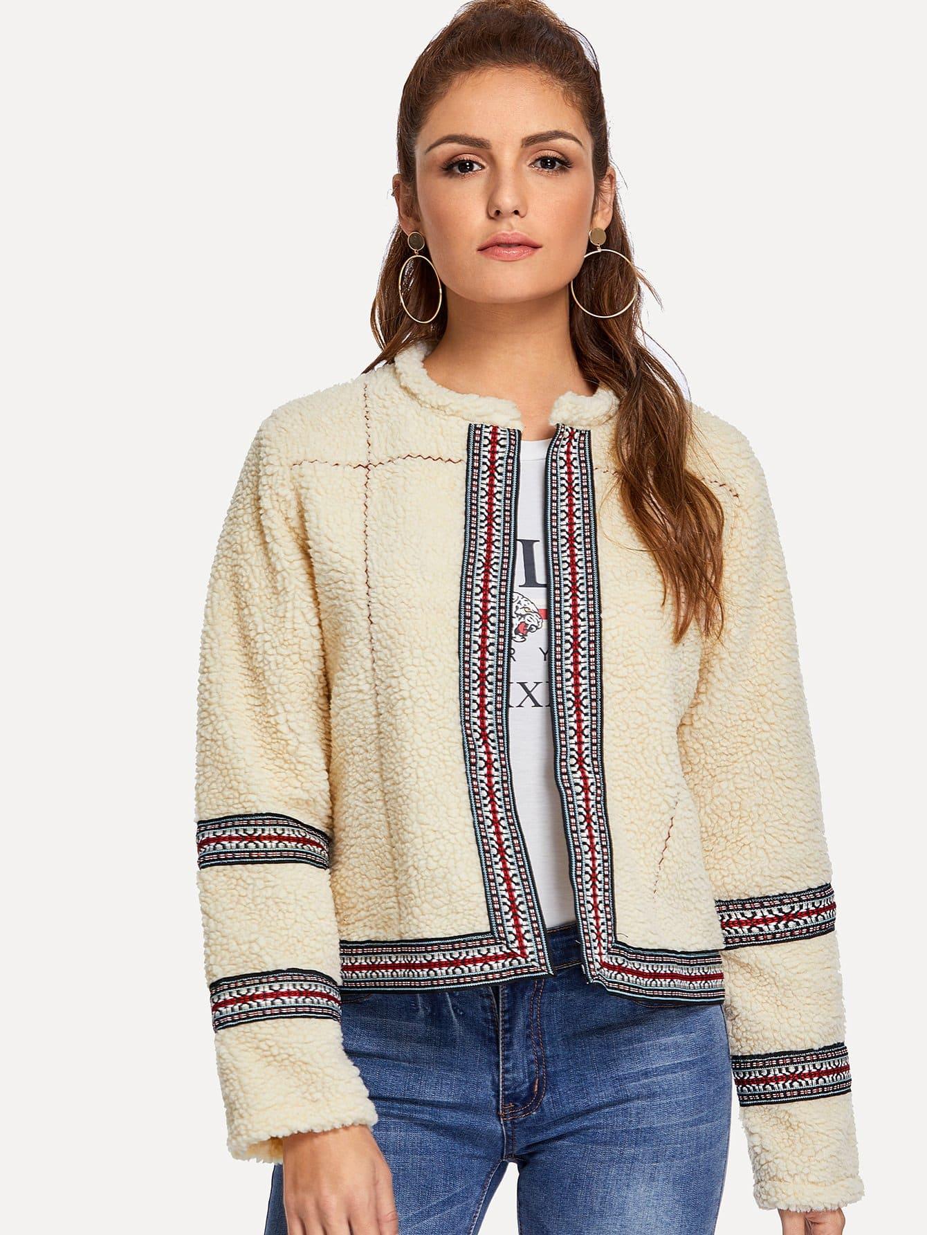 Купить Тедди пальто из искусственного шелка и с вышитыми лентами, Lisa A, SheIn
