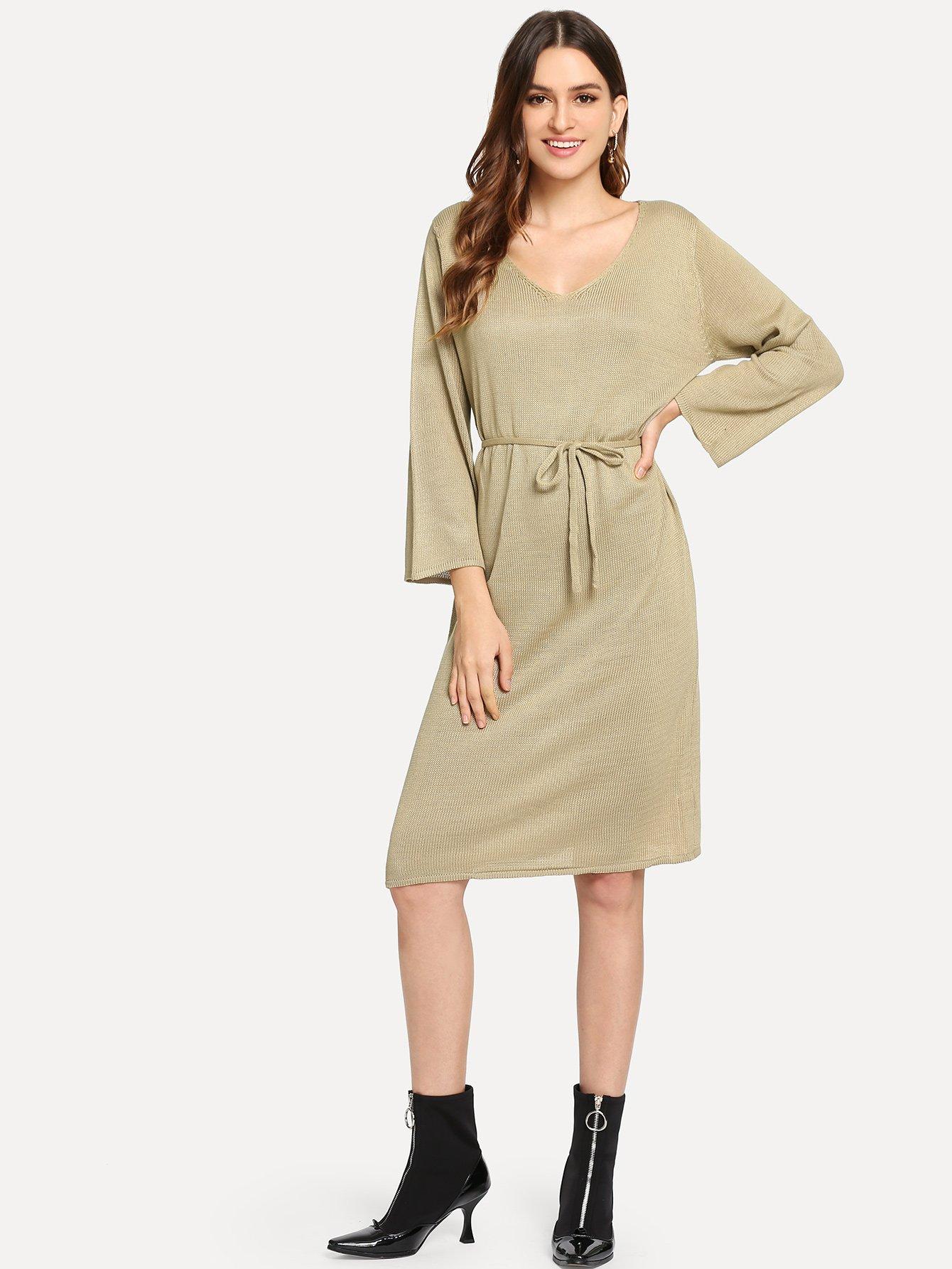 Купить Свитер платье с V-образным вырезом с поясом, Jana, SheIn