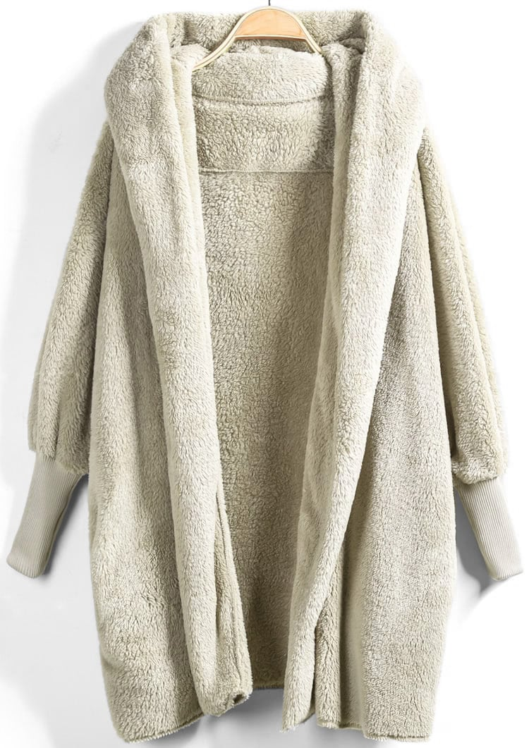 Купить Open Front Faux Fur Hooded Teddy Coat