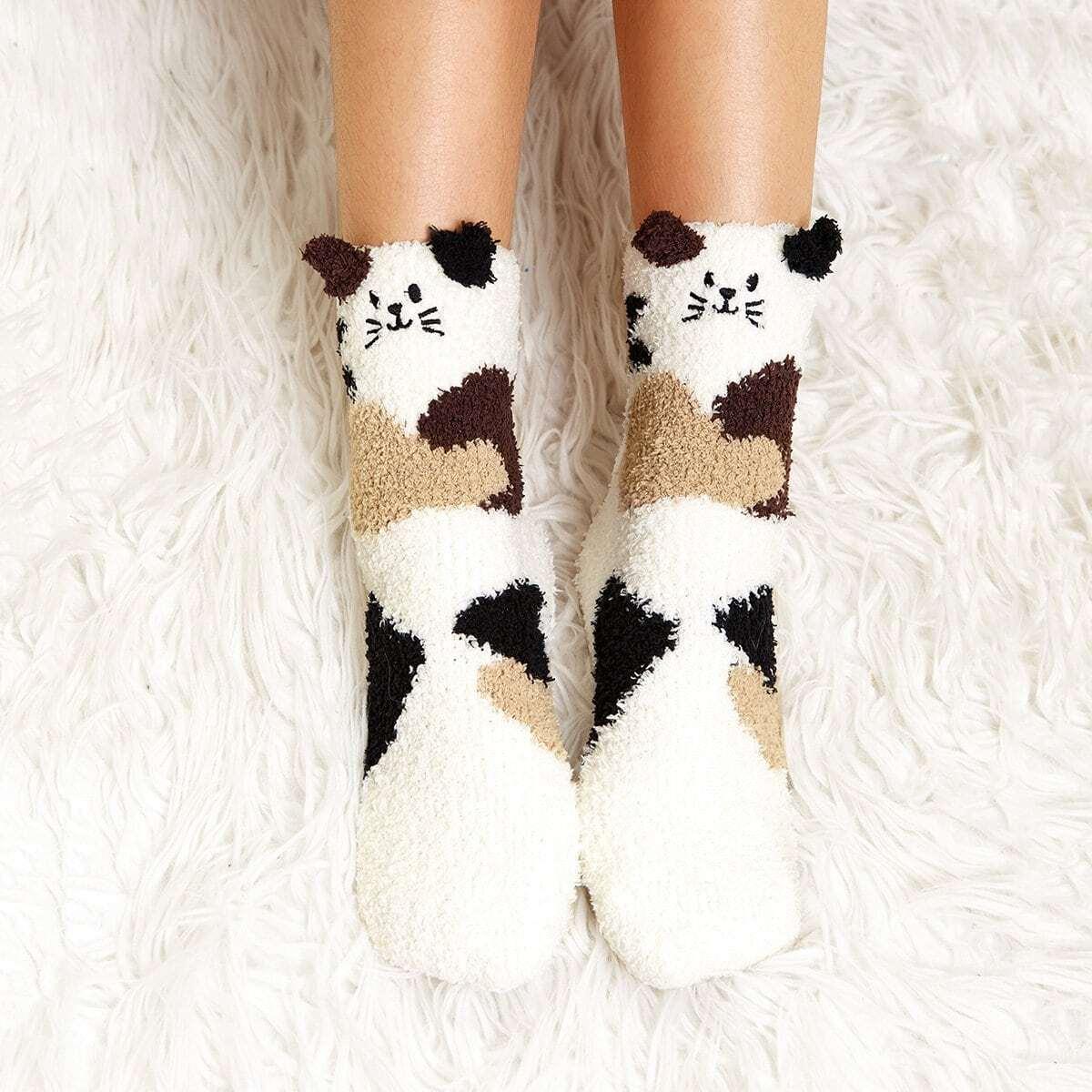 Cat patroon fuzzy sokken