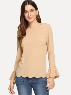 Scallop Trim Bell Sleeve Solid Top