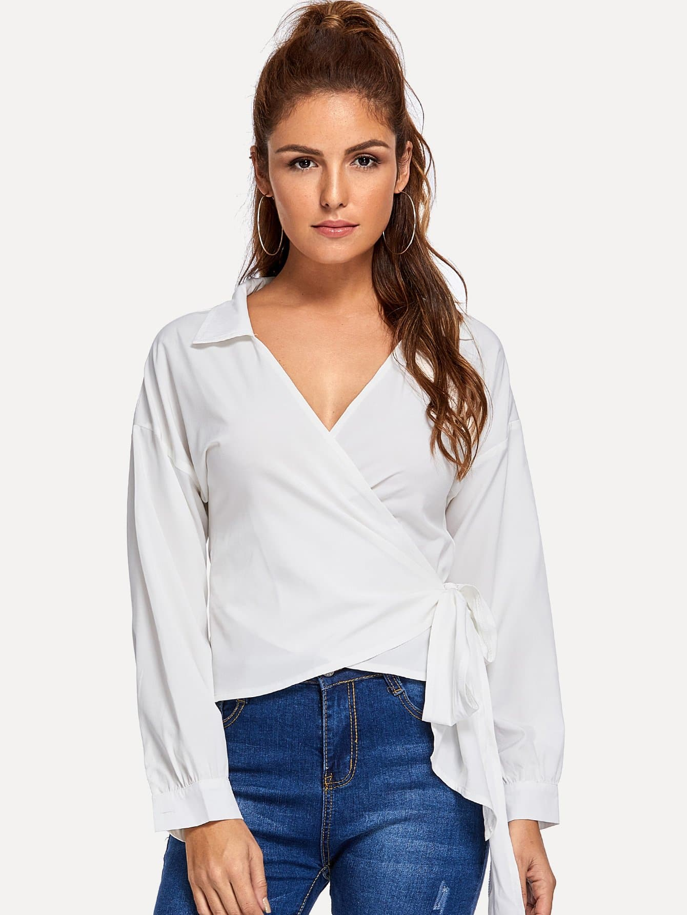 Купить Простая блуза V-образным вырезом и запахом, Lisa A, SheIn