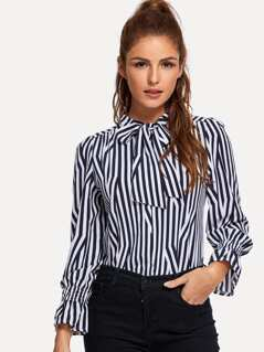 Tie Neck Striped Print Top