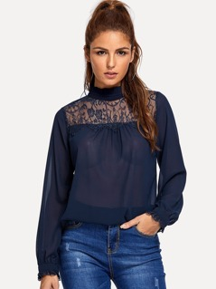 Contrast Lace Ruffle Trim Top