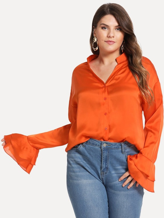 f725870e3d69 Neon Orange Plus Button Front Bell Sleeve Solid Top | MakeMeChic.COM