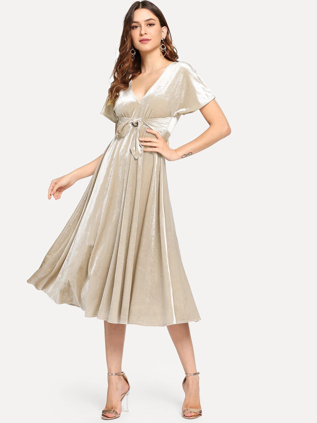 Купить Платье с v-образным вырезом с завязкой на талии, Jana, SheIn