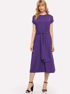 Waist Knot Solid Dress