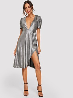 Deep V Neck Metallic Dress