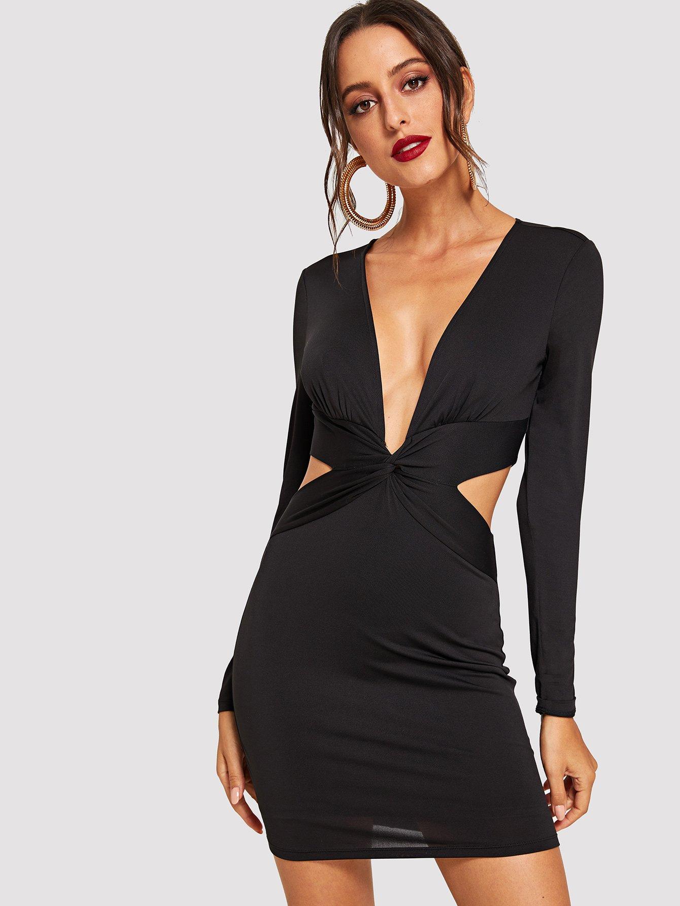 Купить Витой спереди Платье с v-образным вырезом, Mary P., SheIn