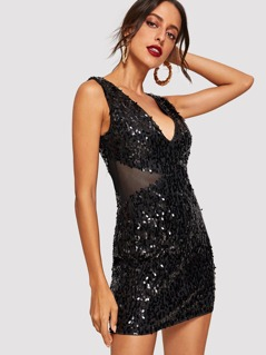 V-Neck Shell Sequin Dress
